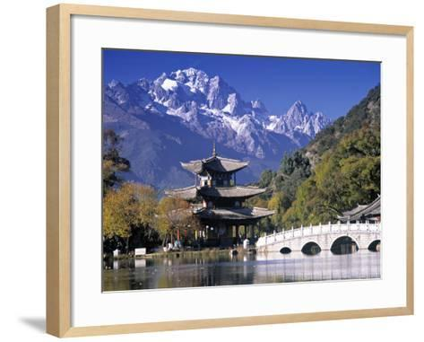 China, Yunnan Province, Lijiang, Black Dragon Pool Park and Jade Dragon Snow Mountain-Peter Adams-Framed Art Print