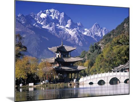 China, Yunnan Province, Lijiang, Black Dragon Pool Park and Jade Dragon Snow Mountain-Peter Adams-Mounted Photographic Print