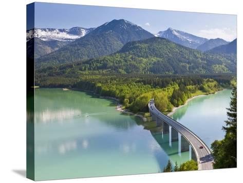 Road Bridge over Lake, Sylvenstein Lake and Bridge Bavarian Alps Bavaria Germany-Peter Adams-Stretched Canvas Print