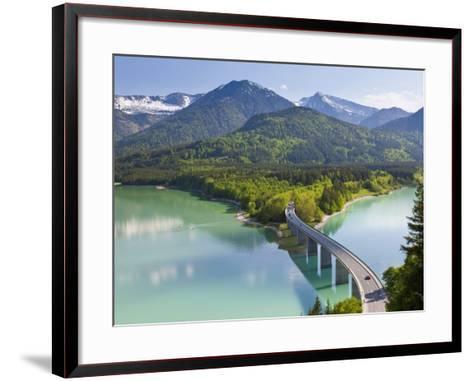 Road Bridge over Lake, Sylvenstein Lake and Bridge Bavarian Alps Bavaria Germany-Peter Adams-Framed Art Print