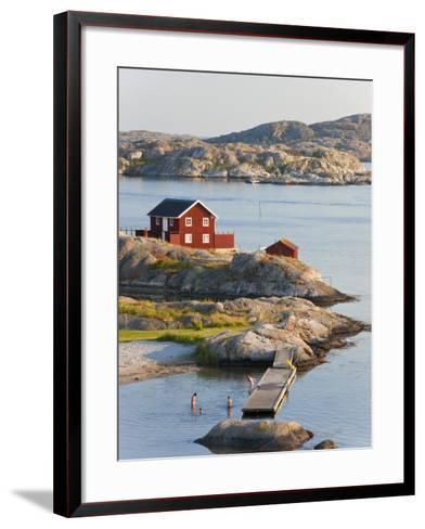 Bathing in Sea, Skarhamn on Island of Tjorn, Bohuslan, on West Coast of Sweden-Peter Adams-Framed Art Print