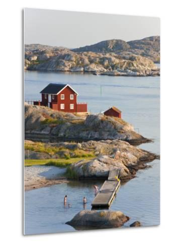 Bathing in Sea, Skarhamn on Island of Tjorn, Bohuslan, on West Coast of Sweden-Peter Adams-Metal Print