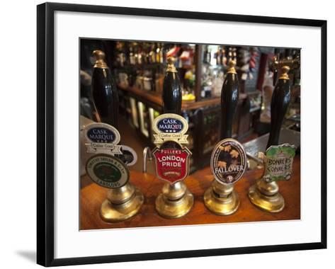 England, London, Beer Pump Handles at the Bar Inside Tradional Pub-Steve Vidler-Framed Art Print