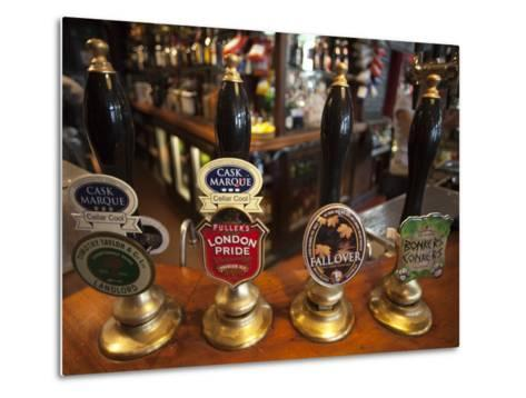 England, London, Beer Pump Handles at the Bar Inside Tradional Pub-Steve Vidler-Metal Print