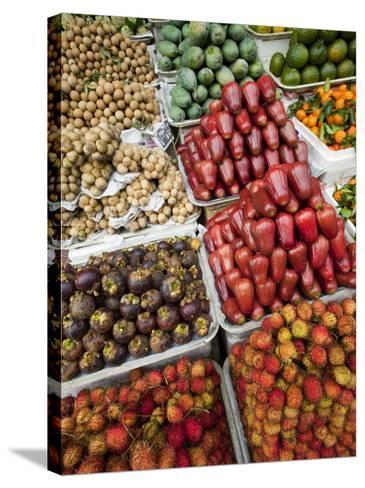 Vietnam, Ho Chi Minh City, Ben Thanh Market, Fruit Display-Steve Vidler-Stretched Canvas Print