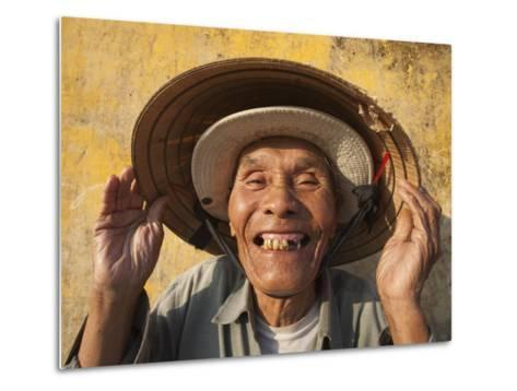 Vietnam, Hoi An, Portrait of Elderly Fisherman-Steve Vidler-Metal Print