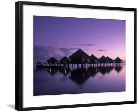 Beach Bungalows, Punaauia, Tahiti, French Polynesia-Walter Bibikow-Framed Art Print