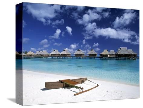 Beach at Bora Bora Nui Resort, Bora Bora, French Polynesia-Walter Bibikow-Stretched Canvas Print