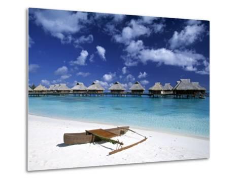 Beach at Bora Bora Nui Resort, Bora Bora, French Polynesia-Walter Bibikow-Metal Print