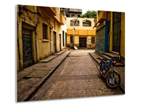 Back Street of Luxor Town, Egypt with Motorbike-Clive Nolan-Metal Print