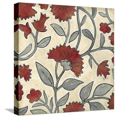 Red & Grey Floral I-Megan Meagher-Stretched Canvas Print