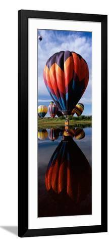 Reflection of Hot Air Balloons in a Lake, Hot Air Balloon Rodeo, Steamboat Springs, Routt County--Framed Art Print