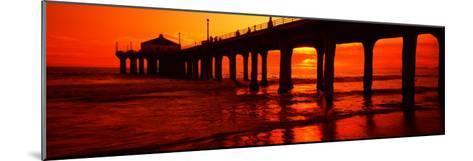 Silhouette of a Pier at Sunset, Manhattan Beach Pier, Manhattan Beach, Los Angeles County, CA--Mounted Photographic Print