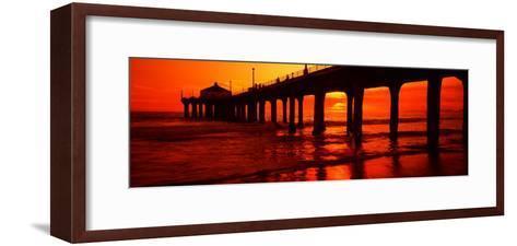 Silhouette of a Pier at Sunset, Manhattan Beach Pier, Manhattan Beach, Los Angeles County, CA--Framed Art Print