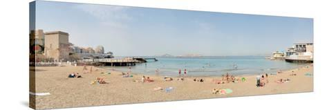 Tourists Sunbathing on the Beach, Catalans Beach, Marseille, Bouches-Du-Rhone, France--Stretched Canvas Print