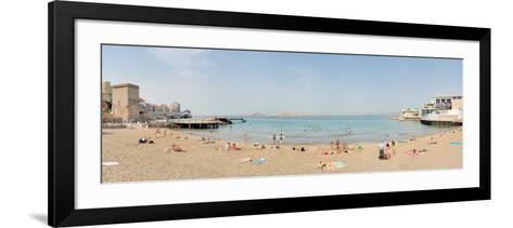 Tourists Sunbathing on the Beach, Catalans Beach, Marseille, Bouches-Du-Rhone, France--Framed Art Print