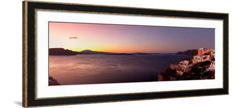 High Angle View of a Town on an Island, Oia, Santorini, Cyclades Islands, Greece--Framed Art Print