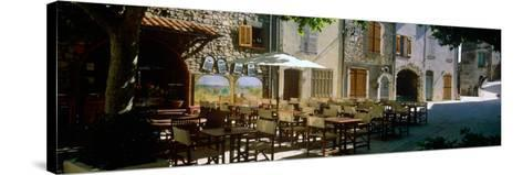Sidewalk Cafe in a Village, Claviers, Var, Provence-Alpes-Cote D'Azur, France--Stretched Canvas Print