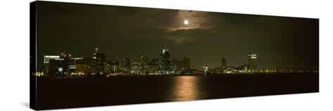 Skyscrapers Lit Up at Night, Coronado Bridge, San Diego, California, USA--Stretched Canvas Print