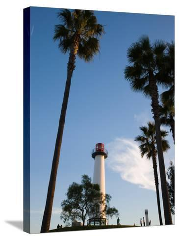 Low Angle View of a Lighthouse, Shoreline Village, Long Beach, Los Angeles County, California, USA--Stretched Canvas Print