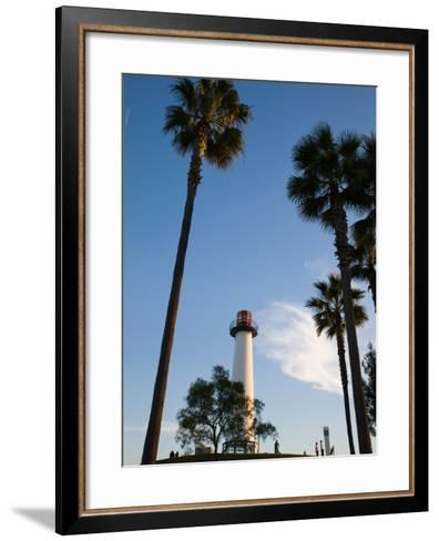 Low Angle View of a Lighthouse, Shoreline Village, Long Beach, Los Angeles County, California, USA--Framed Art Print