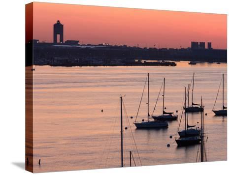Boats in the Sea, Logan International Airport, Boston Harbor, Boston, Massachusetts, USA--Stretched Canvas Print