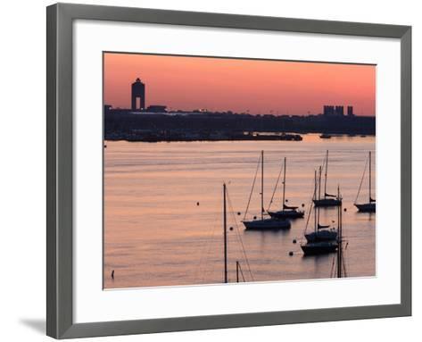 Boats in the Sea, Logan International Airport, Boston Harbor, Boston, Massachusetts, USA--Framed Art Print