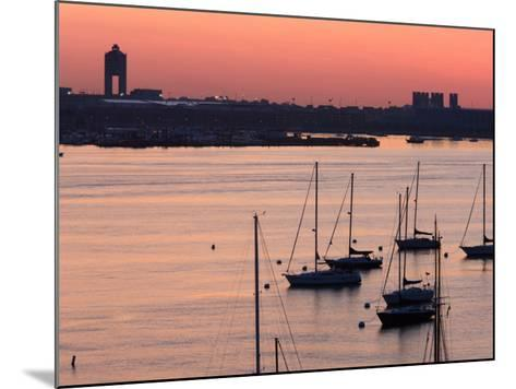 Boats in the Sea, Logan International Airport, Boston Harbor, Boston, Massachusetts, USA--Mounted Photographic Print