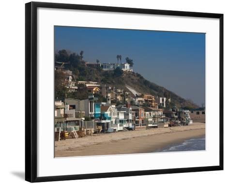Houses at the Waterfront, Malibu, Los Angeles County, California, USA--Framed Art Print