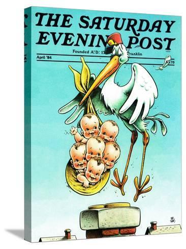 """Stork and Quints,"" Saturday Evening Post Cover, April 1, 1984-BB Sams-Stretched Canvas Print"
