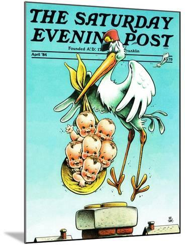 """""""Stork and Quints,"""" Saturday Evening Post Cover, April 1, 1984-BB Sams-Mounted Giclee Print"""