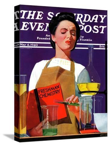 """""""Freshmen Chemistry,"""" Saturday Evening Post Cover, May 4, 1940-John Hyde Phillips-Stretched Canvas Print"""