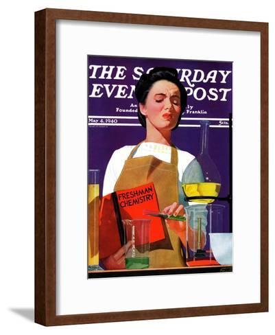 """Freshmen Chemistry,"" Saturday Evening Post Cover, May 4, 1940-John Hyde Phillips-Framed Art Print"