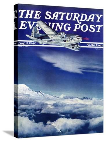 """Flight Above Clouds,"" Saturday Evening Post Cover, August 17, 1940-Clyde H^ Sunderland-Stretched Canvas Print"