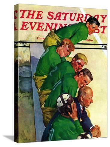 """""""Team on Bench,"""" Saturday Evening Post Cover, November 23, 1940-Emery Clarke-Stretched Canvas Print"""