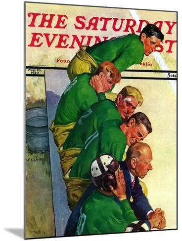"""""""Team on Bench,"""" Saturday Evening Post Cover, November 23, 1940-Emery Clarke-Mounted Giclee Print"""
