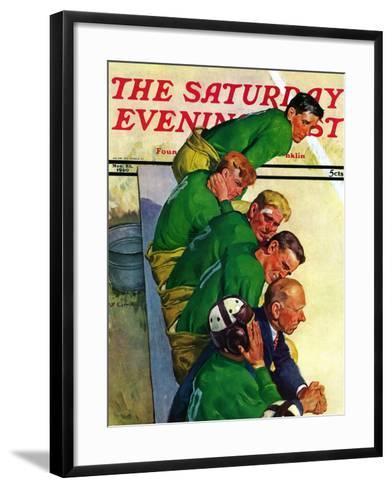"""Team on Bench,"" Saturday Evening Post Cover, November 23, 1940-Emery Clarke-Framed Art Print"