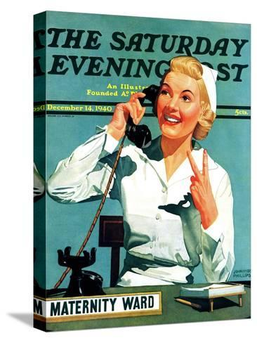 """""""Maternity Ward,"""" Saturday Evening Post Cover, December 14, 1940-John Hyde Phillips-Stretched Canvas Print"""