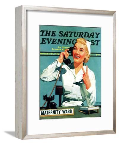 """Maternity Ward,"" Saturday Evening Post Cover, December 14, 1940-John Hyde Phillips-Framed Art Print"