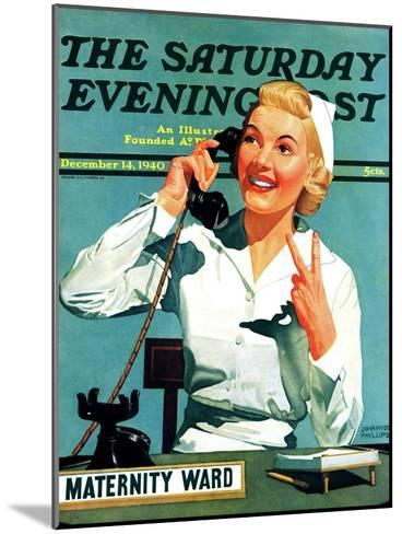 """""""Maternity Ward,"""" Saturday Evening Post Cover, December 14, 1940-John Hyde Phillips-Mounted Giclee Print"""