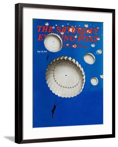 """""""Sky Full of White Parachutes,"""" Saturday Evening Post Cover, September 20, 1941-Arthur C^ Radebaugh-Framed Art Print"""