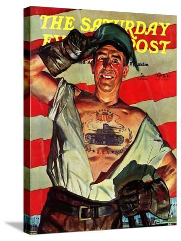 """Tank Tattoo,"" Saturday Evening Post Cover, November 8, 1941-Howard Scott-Stretched Canvas Print"