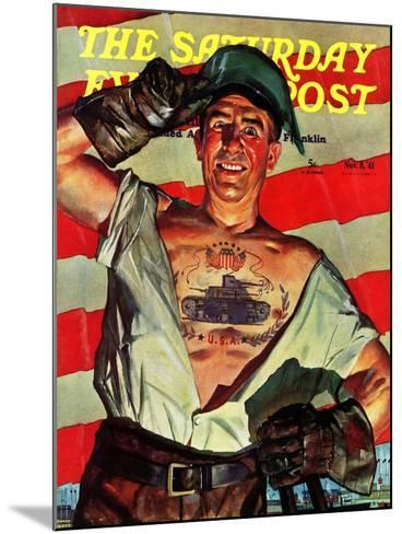 """Tank Tattoo,"" Saturday Evening Post Cover, November 8, 1941-Howard Scott-Mounted Giclee Print"