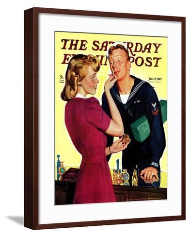 """Sailor Sniffing Perfume,"" Saturday Evening Post Cover, January 17, 1942-John Newton Howitt-Framed Art Print"