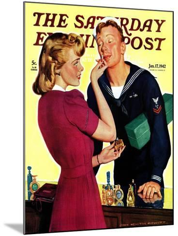 """""""Sailor Sniffing Perfume,"""" Saturday Evening Post Cover, January 17, 1942-John Newton Howitt-Mounted Giclee Print"""