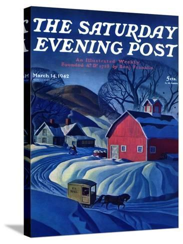 """""""Mail Wagon in Snowy Landscape,"""" Saturday Evening Post Cover, March 14, 1942-Dale Nichols-Stretched Canvas Print"""