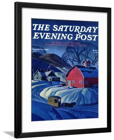 """""""Mail Wagon in Snowy Landscape,"""" Saturday Evening Post Cover, March 14, 1942-Dale Nichols-Framed Art Print"""