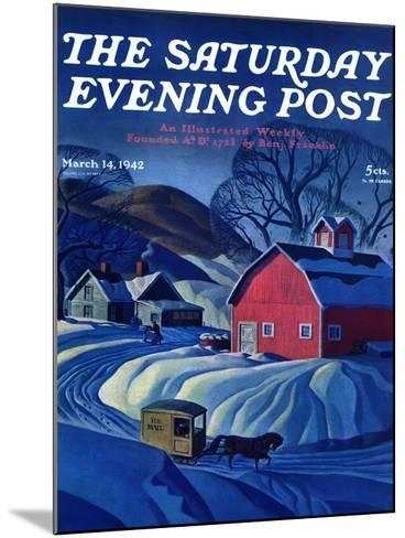 """""""Mail Wagon in Snowy Landscape,"""" Saturday Evening Post Cover, March 14, 1942-Dale Nichols-Mounted Giclee Print"""