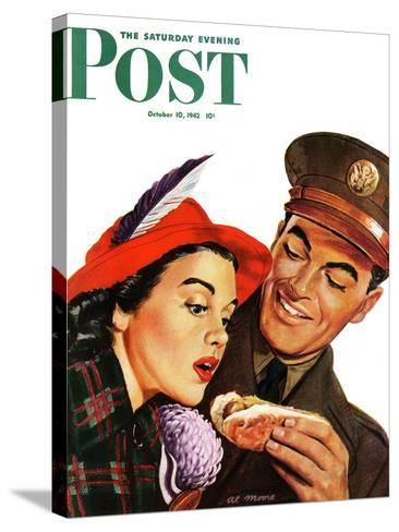 """Hot Dog for a Hot Date,"" Saturday Evening Post Cover, October 10, 1942-Al Moore-Stretched Canvas Print"