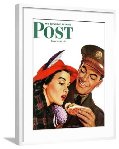 """Hot Dog for a Hot Date,"" Saturday Evening Post Cover, October 10, 1942-Al Moore-Framed Art Print"